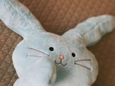 "#PERSONALIZED #Plush #Bunny #Rabbit #Blue #Softie ""Flat Little Bunny Rabbit"" with #Embroidered #Baby #Name by BubbleGumDish.com"