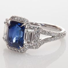 Custom made sapphire and diamond platinum ring by Steven Kirsch