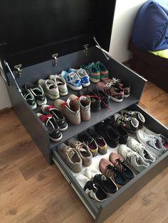 Shoe Box Storage, Diy Storage, Giant Shoe Box, Indian Interior Design, Shoe Cabinets, Sneakers Box, Diy Shoe Rack, Shoe Shelves, Fly Shoes