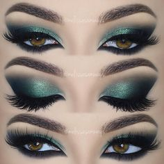 emerald green smokey cat eye w/ smoked lower lashline & arabic inner corner @melissasamways #makeup