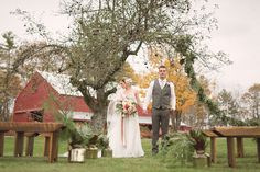 Love the inspiration of this fall wedding at William Allen Farm in Pownal, Maine.