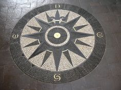Compass Rose - Stone mosaic by John Botica Mosaic Walkway, Pebble Mosaic, Stone Mosaic, Pebble Art, Mosaic Art, Mosaic Glass, Mosaic Tiles, Tile Art, Stained Glass