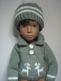 Sasha Dolls Clothes Hand Knitted Sweater and Hat