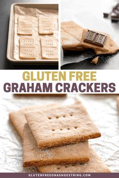 "The perfect gluten free graham crackers. All the taste and texture of a ""real"" graham cracker—just like Nabisco, but gluten free! Biscuits Graham Sans Gluten, Cookies Sans Gluten, Gluten Free Graham Crackers, Dessert Sans Gluten, Gluten Free Treats, Gluten Free Baking, Gluten Free Desserts, Gf Recipes, Gluten Free Recipes"