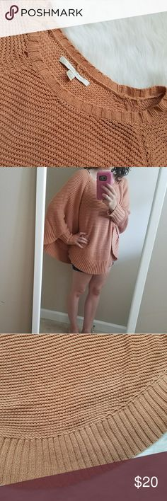 LC Lauren Conrad Chunky Sweater Poncho The epitome of fall, this sweater screams pumpkin spice, leaf piles and bonfires  chunky knit poncho style sweater is so soft and cozy ❤ there is a small pull in the threads as pictured in the first photo creating a tiny hole by the collar that adds to the vintage feel LC Lauren Conrad Sweaters Shrugs & Ponchos