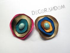 orecchini di stoffa fiore di stoffa riciclata multicolor con perla  recycled jewelry of9 di decorandom su Etsy
