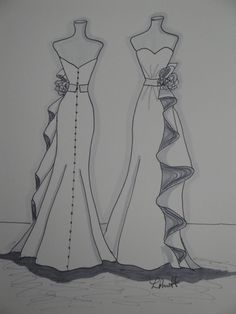 """Custom Wedding Dress """" Front and Back"""" Sketch by Laura Pruett of Laura Arts and Design"""