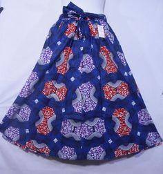 African Boho Maxi Skirt Women Ankara Wax Skirt Long Wide Flare Elastic Waist P08 #Handmade #ALine