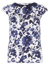 Navy and Pink Floral Collar Top