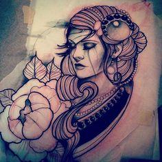 Gypsy Woman tattoo sketch by Ian Caroppoli