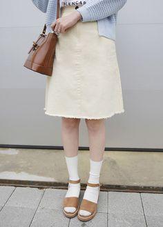 10's trendy style maker 66girls.us! Essential Raw Edge A-Line Skirt (DGVQ) #66girls #kstyle #kfashion #koreanfashion #girlsfashion #teenagegirls #fashionablegirls #dailyoutfit #trendylook #globalshopping