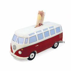 Spardose VW Bus mit Surfbrett classic rot