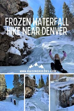 Exploring a frozen waterfall needs to be on your bucketlist and if you are traveling to (or live in) Denver area, see why this hike is the perfect one! #DenverHikes #HikingwithKids #FrozenWaterfall #WaterfallHikes #ColoradoTravel #WinterHiking Backpacking Trails, Hiking Trails, Hikes Near Denver, Franklin Falls, Living In Denver, Trail Signs, Denver Area, Waterfall Hikes, Hiking With Kids