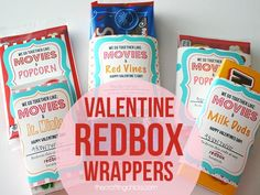 There are 4 different Valentine Redbox wrappers to go along with our favorite movie treats. - Free Printable