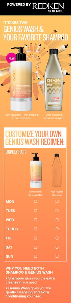 When hair needs extra moisture and conditioning with gentle cleansing, reach for Redken's Genius Wash Cleansing Conditioner co-washes. Perfect for if you work out, color your hair, or battle frizz, this paraben-free formula works in-between your fave shampoo so your hair is always clean but never overwashed. Ask your stylist which Genius Wash formula is right for your hair!