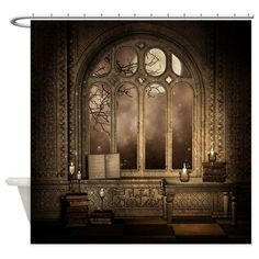 CafePress - Gothic Library Window Shower Curtain - Decorative Fabric Shower | eBay