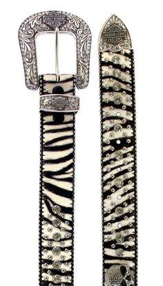 Harley-Davidson® Womens Wild Thing 2 Western Zebra B Belt. W10046
