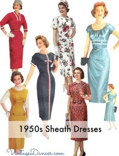 The slim fitting pencil dress or wiggle dress come in a variety of styles. Learn the history and shop for your favorite sheath dress. 1950s Fashion Dresses, Vintage Fashion 1950s, Vintage Mode, Retro Fashion, Vintage Style, Vintage Outfits, 1950s Outfits, Vintage Dresses 50s, 1950s Dresses