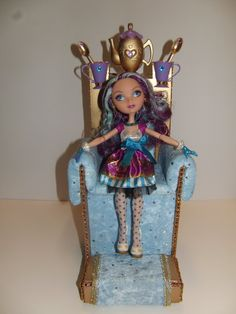 Furniture for Ever After High Dolls * Handmade Throne with Footstool * for Madeline Hatter