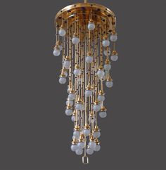 Traditional chandelier by Koloman Moser. Glass and brass | Church at Steinhof