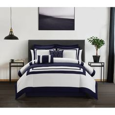 Shop Chic Home Golda 12 Piece Bed in A Bag Comforter and Quilt Set - Overstock - 31484494 - Navy - Twin King Comforter, Comforter Sets, Navy Comforter, Bed In A Bag, White Bedding, Quilt Sets, House Prices, Bedroom Decor, Master Bedroom