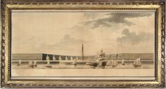 View in perspective of the place Louis XVI…, ink and wash drawing, Victor Louis, 1785