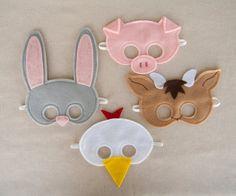 Farm Animal Mask Set by Mahalo on Etsy, $36.00