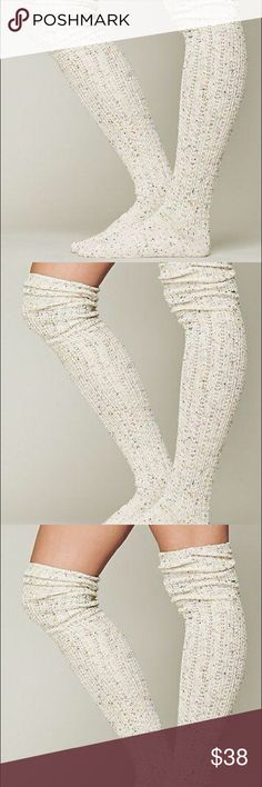 """FREE PEOPLE OATMEAL SPECKLED THIGH HIGH KNEE SOCKS Speckled  Color:Beige  Style: Over The Knee  Width 8""""  Length 33"""" Textured Knit Free People Accessories Hosiery & Socks"""