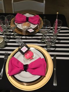 Black and gold with white and black stripes. Such a beautiful Kate Spade themed bridal shower. Theme Parties, Party Themes, Winery Bridal Showers, 50th Birthday, Black Stripes, Shower Ideas, Kate Spade, Gold, Beautiful