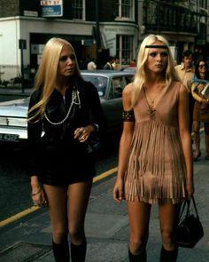 1960s fashion mini skirts dress native american indian look fringe tan black headband purse boots found photo street blonde women