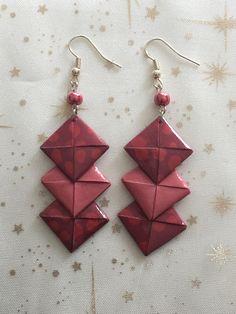 Boucles d'oreilles chevron en papier origami rouge foncé/cadeau pour elle/boucles d'oreilles originales/boucles d'oreilles fantaisies de la boutique LatelierdIsabo sur Etsy