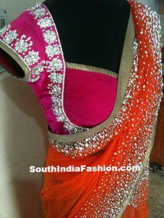 saree blouse pink