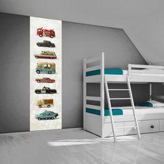 Hippe muursticker van oude Dinky Toys. Leuk idee voor een stoere jongenskamer. Verkrijgbaar bij www.kleefenzo.nl