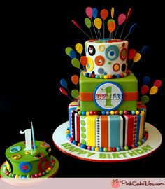 Festive, colorful birthday cake for little boy