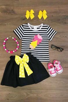 Black/White Stripe Pencil Skirt Set