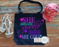 She Leaves A Little Sparkle Wherever She Goes SVG Iron On Patches, Reusable Tote Bags, Sparkle, Leaves, Digital