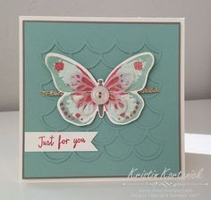 Love the background effect on this card - by Kristin Kortonick featuring the Watercolor Wings stamp set