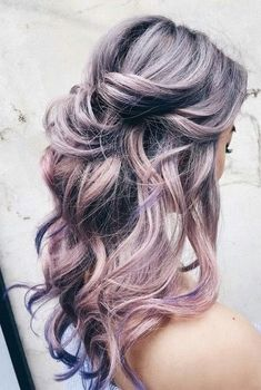 Silver pink lavender purple ombre hair color