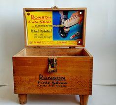 1960s Ronson Roto Shine Electric Shoe Shine Polisher Retro Wooden Shoe Shine Box…