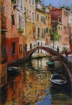 "Ukranian artist Dmitri Danish, Original Oil on canvas 12 x 18 - ""Venice, Sunny Day"""