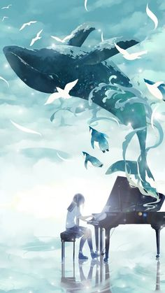 Trendy fantasy landscape ocean art of animation ideas Fantasy Landscape, Fantasy Art, Landscape Art, Yuumei Art, Arte Indie, Whale Art, Art Anime, Wow Art, Ocean Art