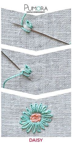Embroidering daisies - learning to embroider flowers - Pumora-Margeriten sticken – Blumen sticken lernen – Pumora Embroider flowers: daisies - Embroidery Stitches Tutorial, Embroidery Flowers Pattern, Simple Embroidery, Learn Embroidery, Japanese Embroidery, Silk Ribbon Embroidery, Crewel Embroidery, Hand Embroidery Designs, Embroidery Techniques