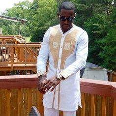 White with Gold Embroidery African Men's Outfit, African Clothing,Ankara Long Sleeve Shirt Top and Bottom for Men African Dresses Men, African Shirts, African Men Fashion, African Attire, African Wear, African Style, African Beauty, Dashiki Shirt, Dashiki Dress