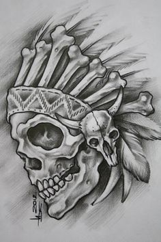 Photo Tattoo Design Drawings, Skull Tattoo Design, Tattoo Designs, Dark Art Drawings, Art Drawings Sketches, Tattoo Sketches, Stencils Tatuagem, Indian Skull Tattoos, Skull Stencil