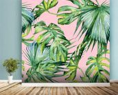 Pink Jungle Wallpaper mural wallpaper in-room view