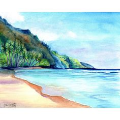 Kauai North Shore Paintings ($26) ❤ liked on Polyvore featuring home, home decor, wall art, watercolor painting, beach scene painting, white wall art, ink painting and white home decor