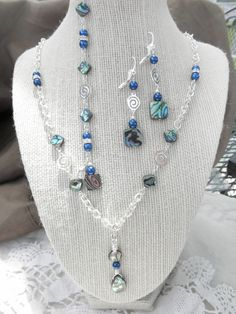 Paua Abalone Shell and Pearl Silver Necklace, Earring and Bracelet Set