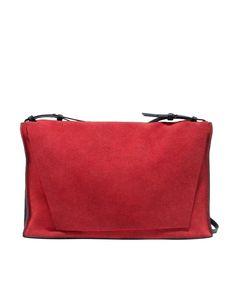 Single-strap Suede & Leather Shoulder Bag