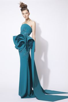 Green Hand Sequined Silk Crepe Dress