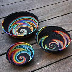 Best 12 Telephone Wire Bowls, S , M , & L Colour Rainbow - Inspiration. Rope Basket, Basket Weaving, Crochet Crafts, Sewing Crafts, Pine Needle Baskets, Wire Baskets, Fabric Bowls, Rope Crafts, Tapestry Crochet